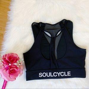 Soulcycle Black Racerback Mesh Sports Bra L